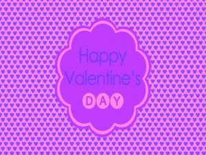¡Feliz Día de San Valentín! en un fondo cubierto de corazones