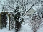 Jardín cubierto de nieve