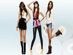 Miley Cyrus con tres tipos de vestimenta