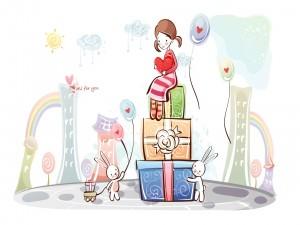 Postal: Muchacha sentada en una torre de regalos el Día de San Valentín