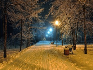 Postal: Nieve en un parque iluminado