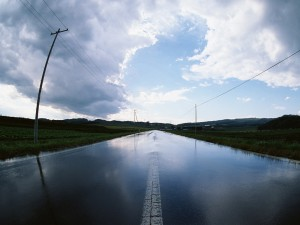 Carretera mojada tras la lluvia