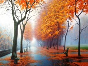 Un parque en otoño