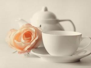 Rosa junto a una taza de té
