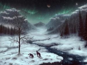 Lobos negros en una noche invernal