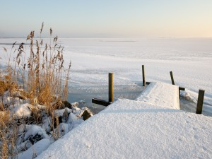 Postal: Superficie de agua cubierta de hielo y nieve