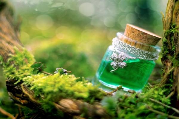 Pequeño tarro de cristal con esencia del bosque
