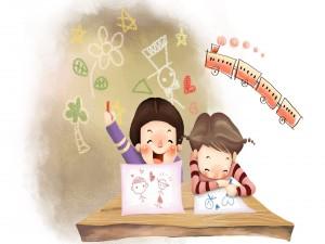 Postal: Niños dibujando amor