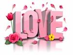Pétalos de flores sobre la palabra Love