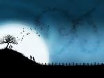 Pareja de enamorados en una noche de luna llena