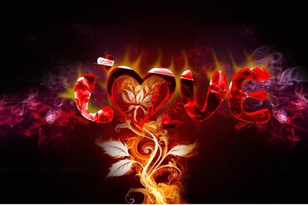 Planta ardiente sobre la palabra Amor