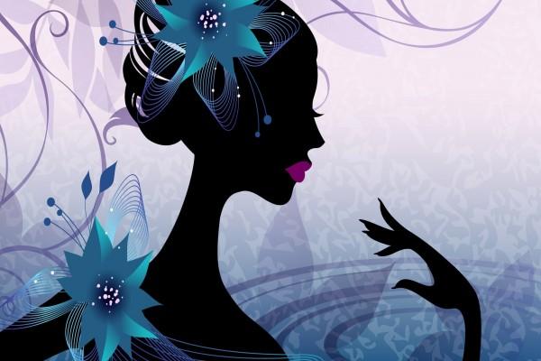 Muchacha con una flor en su pelo