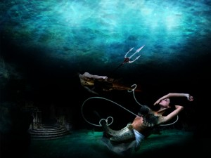Postal: Piscis bajo el mar