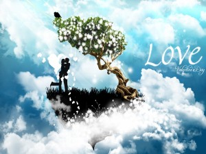 Postal: Pareja de enamorados en el Día de San Valentín