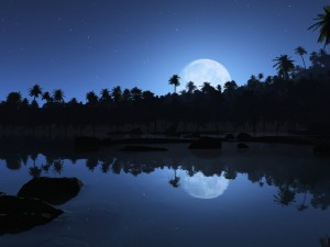 La luna reflejada en el agua