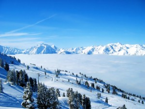 Postal: Nieve en una estación de esquí