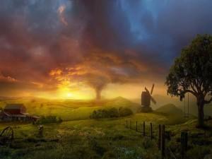 Sol iluminando una granja con un molino
