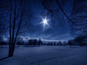 Postal: La luna brillando sobre un paisaje cubierto de nieve