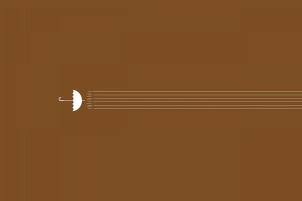 Un paraguas y líneas en un fondo marrón