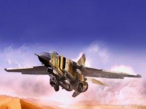 Postal: imagen de un avión militar