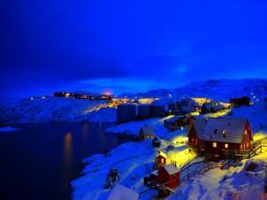 Postal: Noche fría de invierno en Noruega