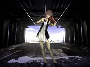 Chica anime tocando una melodía de amor