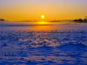 Postal: Sol iluminando una llanura cubierta de nieve