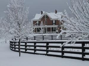 Postal: Gran casa cubierta de nieve