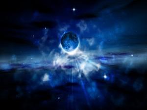 Postal: Luz brillante tras la Luna
