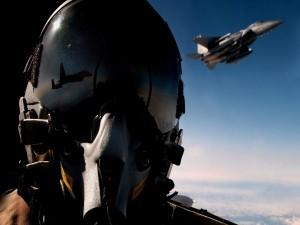Postal: Piloto y aviones de combate