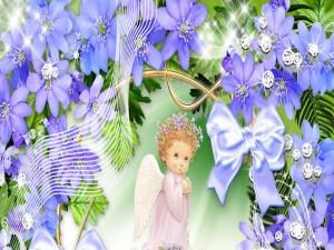 Un tierno angelito entre flores