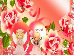 Postal: Dos dulces angelitos entre flores
