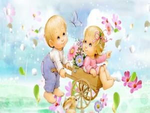 Niños jugando bajo una lluvia de flores