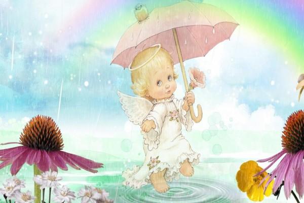 Un tierno angelito bajo la lluvia