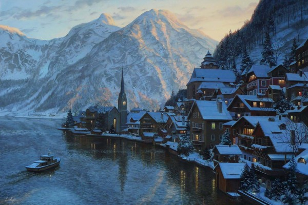 Hermoso pueblo invernal