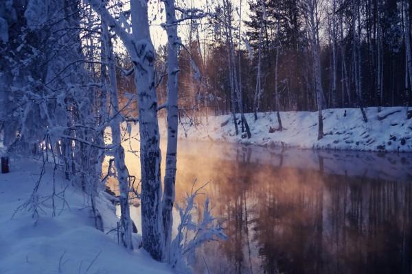 Bruma sobre un río en invierno