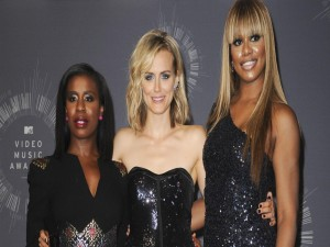 "Taylor Schilling, Laverne Cox y Uzo Aduba actrices de la serie ""Orange is the new Black"""
