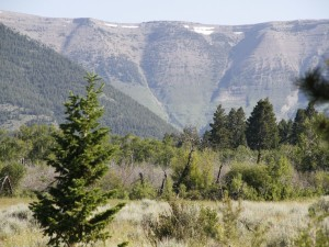 Restos de nieve en las montañas
