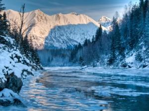 Río helado junto a las montañas