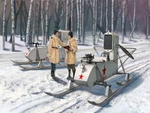 Postal: Imagen de dos militares sobre la nieve