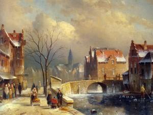Postal: Obra invernal de Charles Leickert