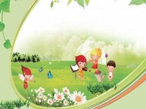 Postal: Niños tocando varios instrumentos en el campo
