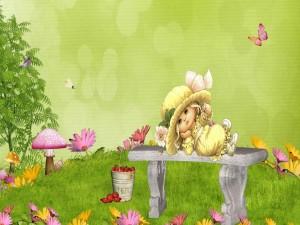 Niña descansando en un banco a la llegada de la primavera