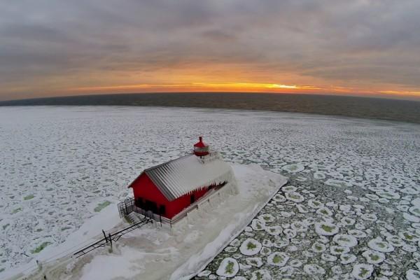 Lago Míchigan en invierno