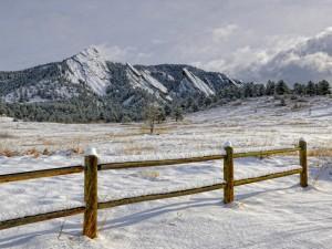 Nieve sobre una valla de madera