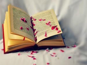 Pétalos sobre un libro