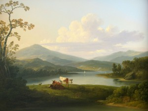 Postal: Vacas en una pintura