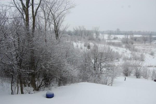 Una bola azul sobre la nieve