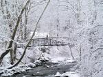 Caminando por un puente cubierto de nieve