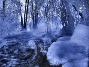 Postal: Bloques de hielo junto a un río caudaloso